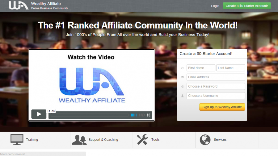 A screen shot of wealthyaffiiliate.com homepage