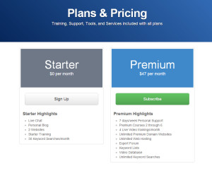 a screen shot of the wealthy affiliate sign up page listing membership options, their benefits, and pricing