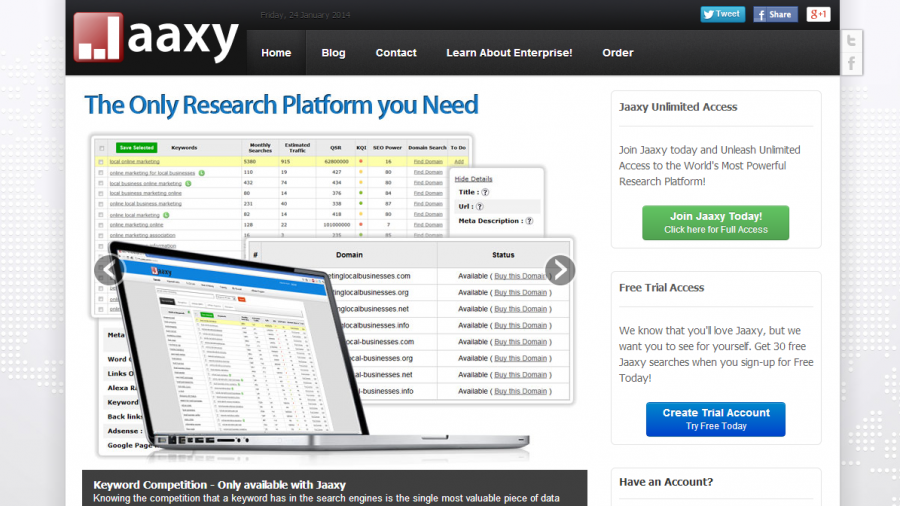 A screen shot of the homepage of the Jaaxy keyword tool