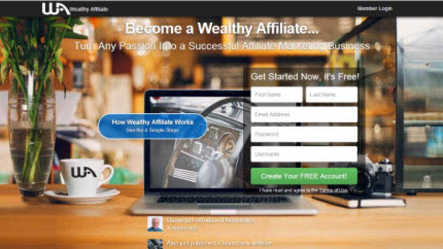 A screen shot of the wealthyaffiliate.com homepage