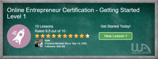 Online Entrepreneur Course Getting Started Page Screenshot