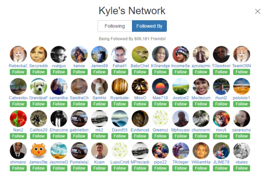 A screen shot of some of the people following Kyle, a founder of Wealthy Affiliate.