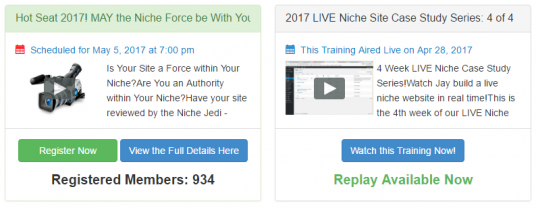 A screen shot of the page showing two Wealthy Affiliate Webinars